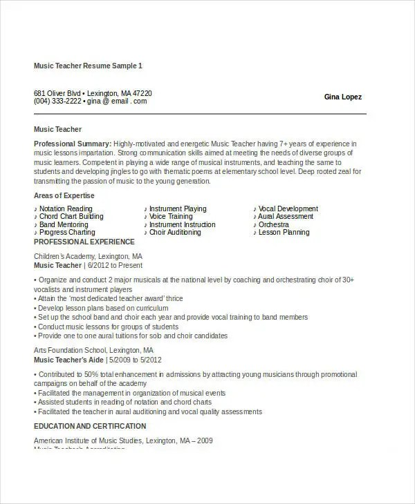 Teacher Resume Examples - 23+ Free Word, PDF Documents Download