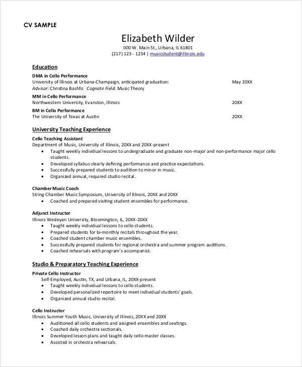 music teacher resumes examples