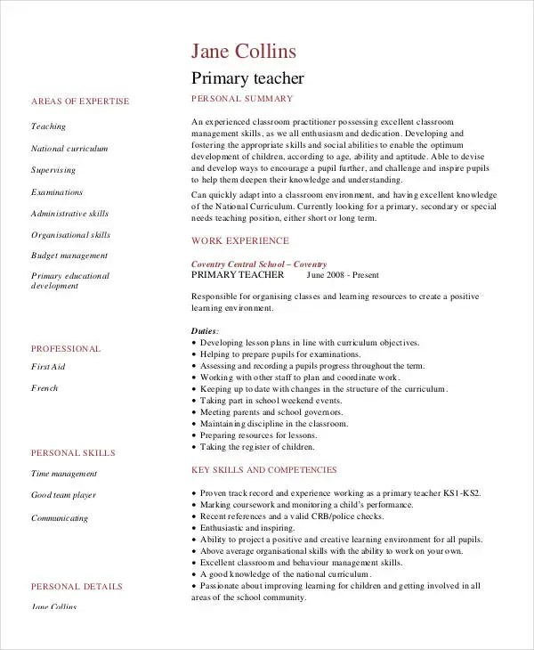 Teacher Resume Examples - 23+ Free Word, PDF Documents Download - First Year Teacher Resume Examples