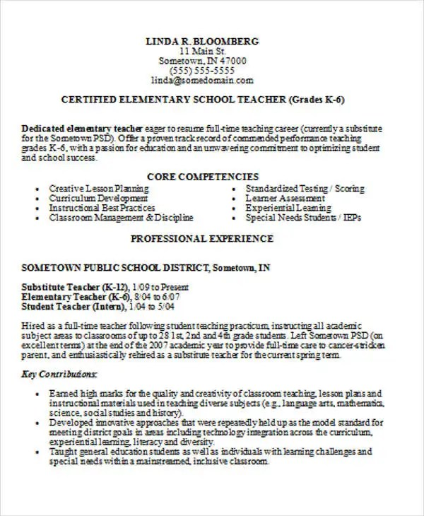 best teacher resume - Intoanysearch - elementary teaching resume