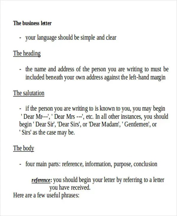 44+ Business Letter Format Free  Premium Templates - parts of a business letter