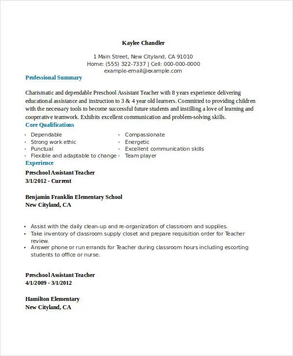 Teacher Resume Examples - 23+ Free Word, PDF Documents Download - biodata format for teacher job
