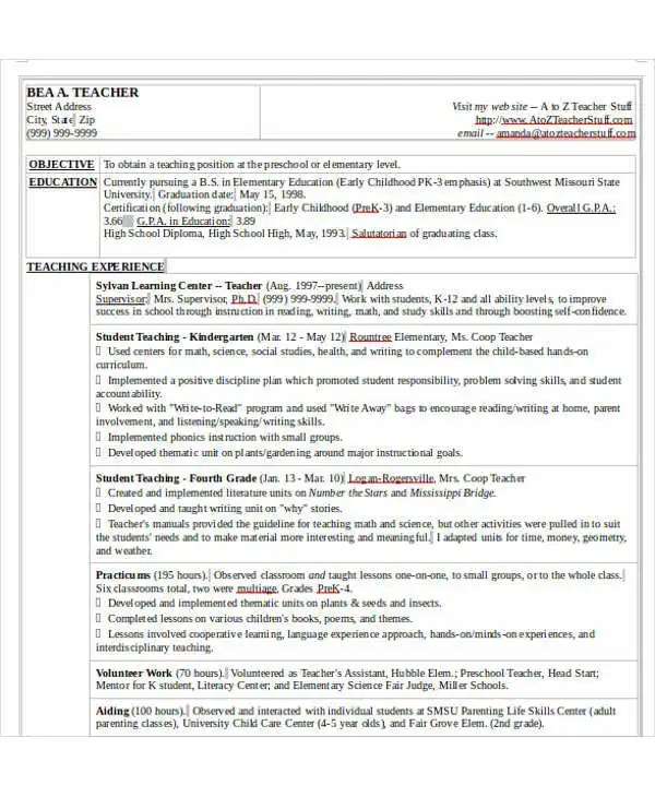 40+ Modern Teacher Resume Templates - PDF, DOC Free  Premium - plant nursery worker sample resume