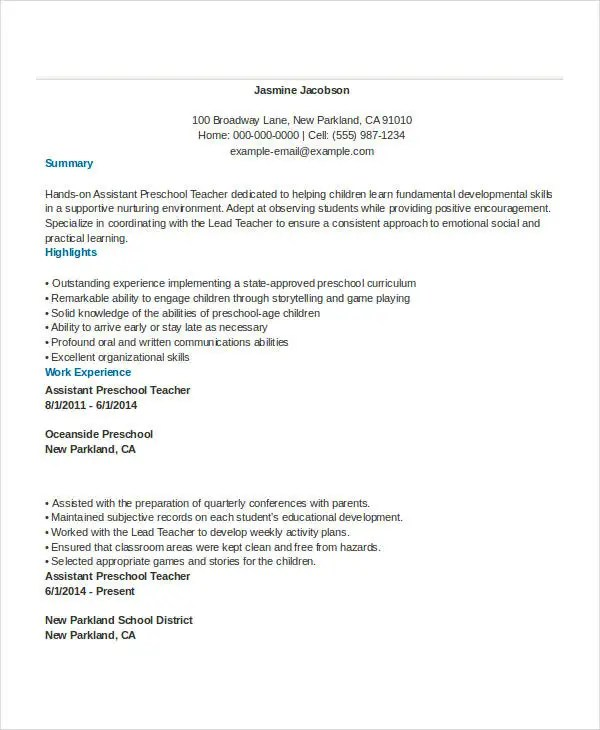 Basic Teacher Resumes -29+ Free Word, PDF Documents Download - pre school teacher resume