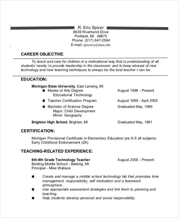 Teacher Resume Examples - 23+ Free Word, PDF Documents Download - Teachers Resume Objective