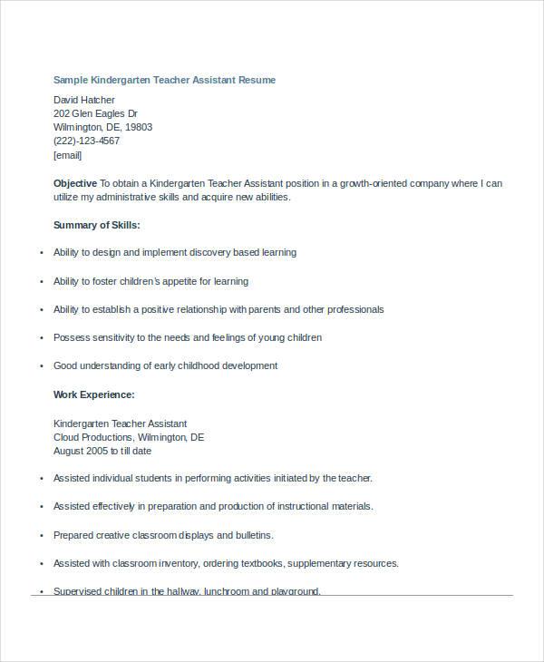 29+ Basic Teacher Resume Templates - PDF, DOC Free  Premium Templates - kindergarten teacher resume examples