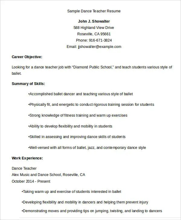dance teacher resume teachers resume objective best resume