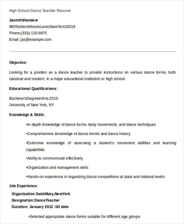 dancer resume template cvornekleri us