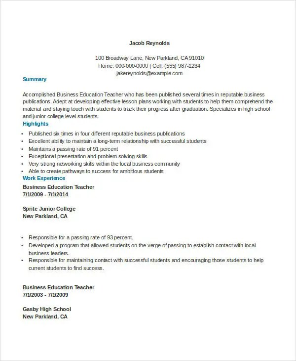 29+ Basic Teacher Resume Templates - PDF, DOC Free  Premium Templates - junior lecturer resume