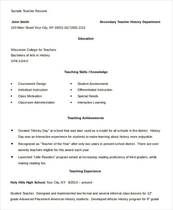 Free Teacher Resume - 40+ Free Word, PDF Documents Download Free - cv format for a teacher