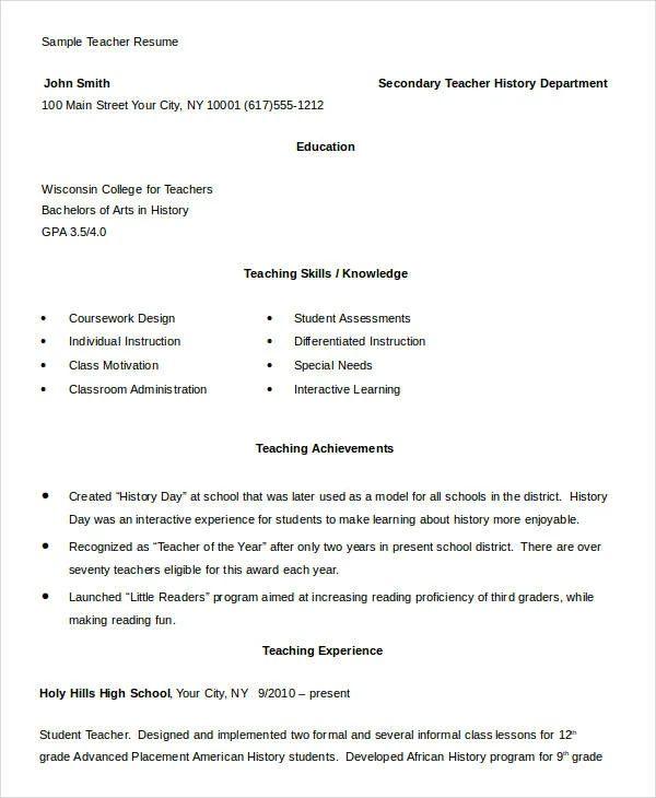 resume for teachers doc file