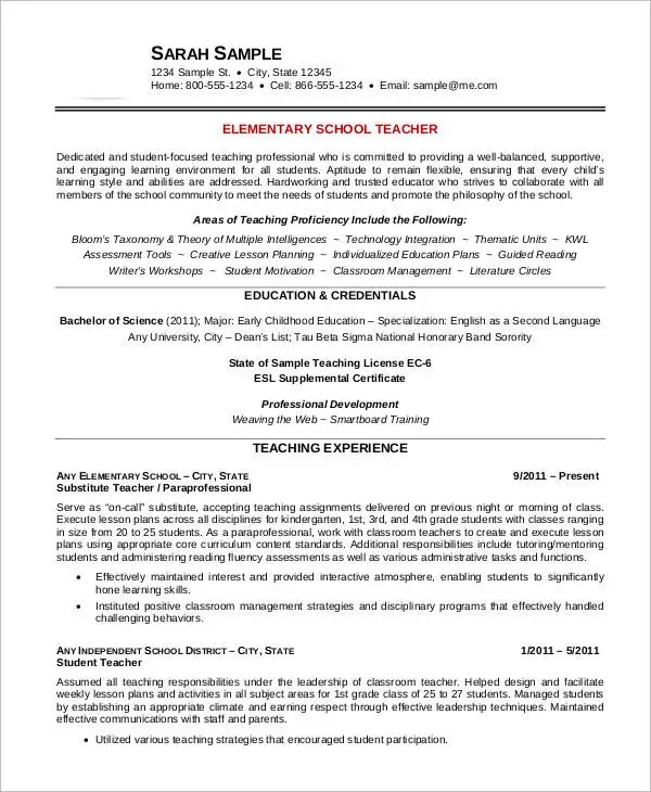 Free Teacher Resume - 40+ Free Word, PDF Documents Download Free - english teacher resume samples