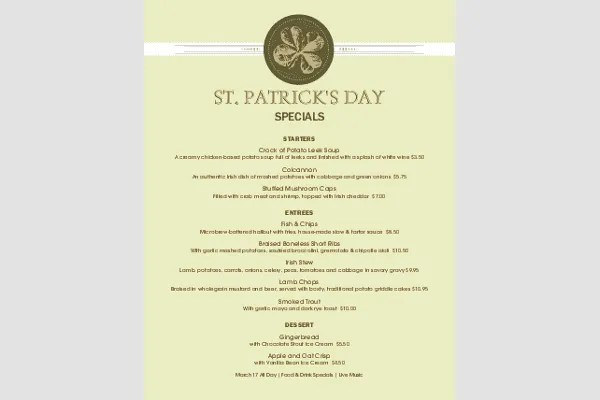 8+ St Patrick\u0027s Day Menu Templates Free  Premium Templates - event menu template