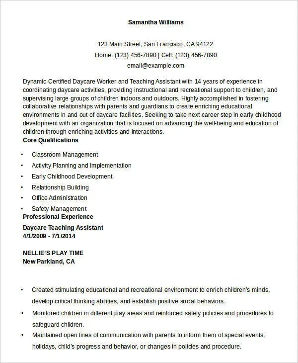 Free Teacher Resume - 40+ Free Word, PDF Documents Download Free - resume for daycare teacher