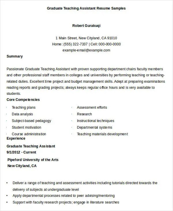Free Teacher Resume - 40+ Free Word, PDF Documents Download Free - Teaching Assistant Resume Example