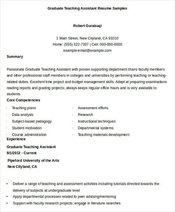 graduate teaching assistant resume