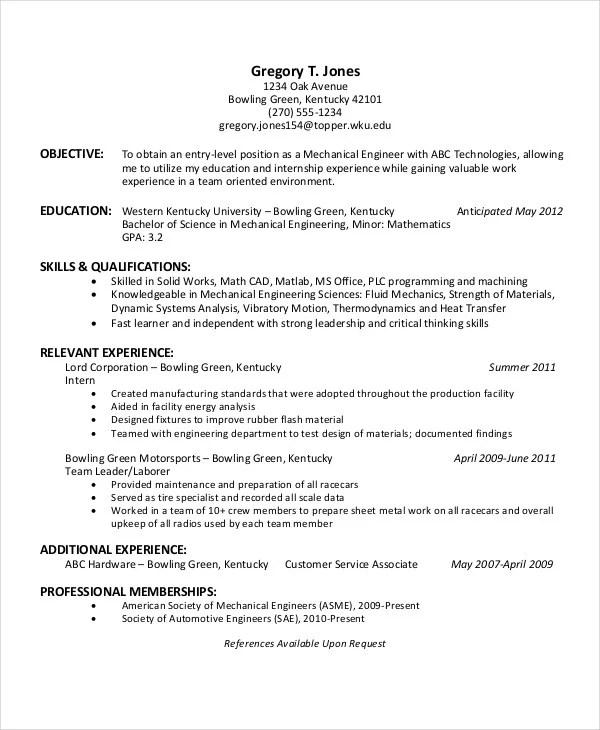 American Format Resume Engineering Internship Resume Pdf Free - download resume