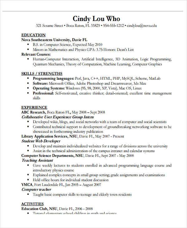 resume for computer science teacher - Vatozatozdevelopment