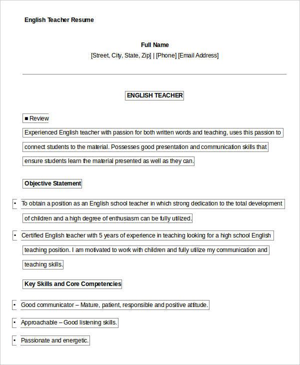 Free Teacher Resume - 40+ Free Word, PDF Documents Download Free - high school english teacher resume