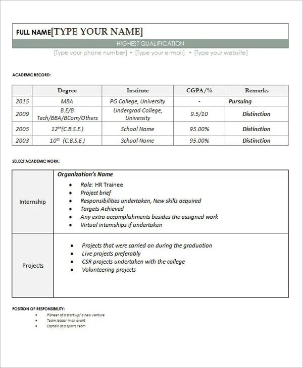 30+ Fresher Resume Templates - PDF, DOC Free  Premium Templates - resume format for freshers download