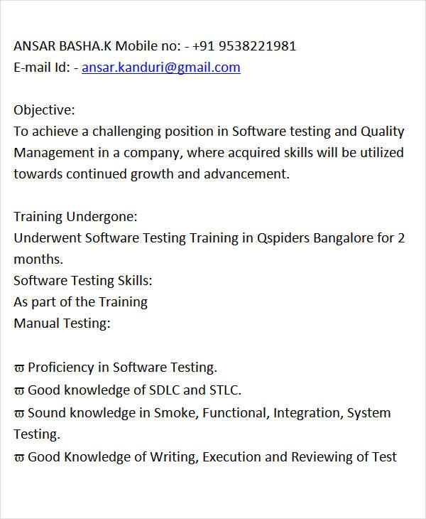 30+ Fresher Resume Templates - PDF, DOC Free  Premium Templates - manual testing resume