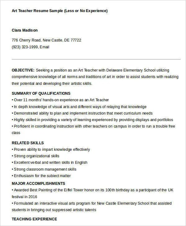 Free Teacher Resume - 40+ Free Word, PDF Documents Download Free