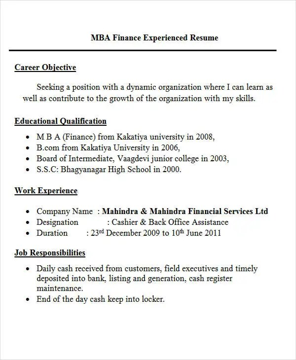 30+ Fresher Resume Templates - PDF, DOC Free  Premium Templates - Experienced Candidate Resume Format