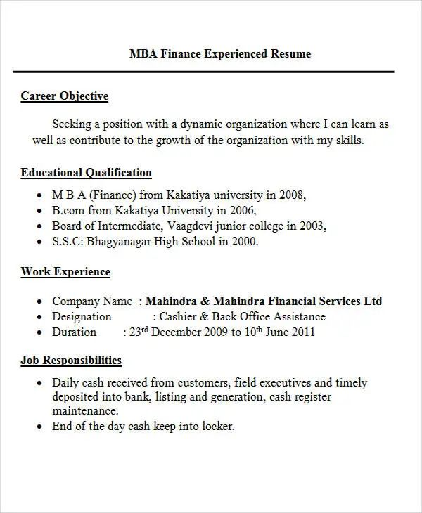 sample objective resume description for fresher