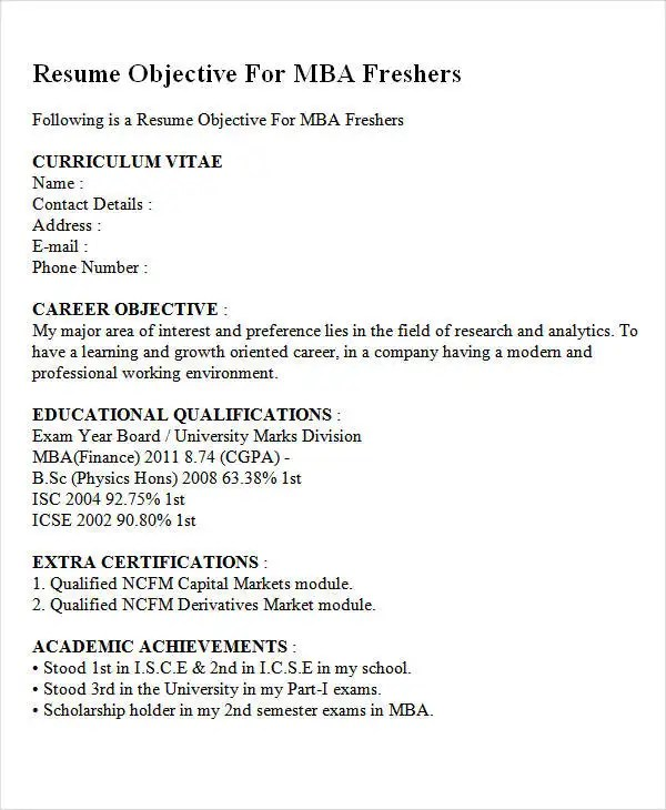 30+ Fresher Resume Templates - PDF, DOC Free  Premium Templates - fresher objective in resume