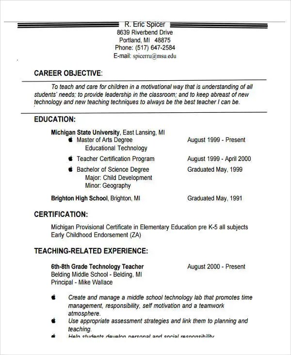 20+ Teacher Resume Templates - PDF, DOC Free  Premium Templates - Teachers Resume Objective