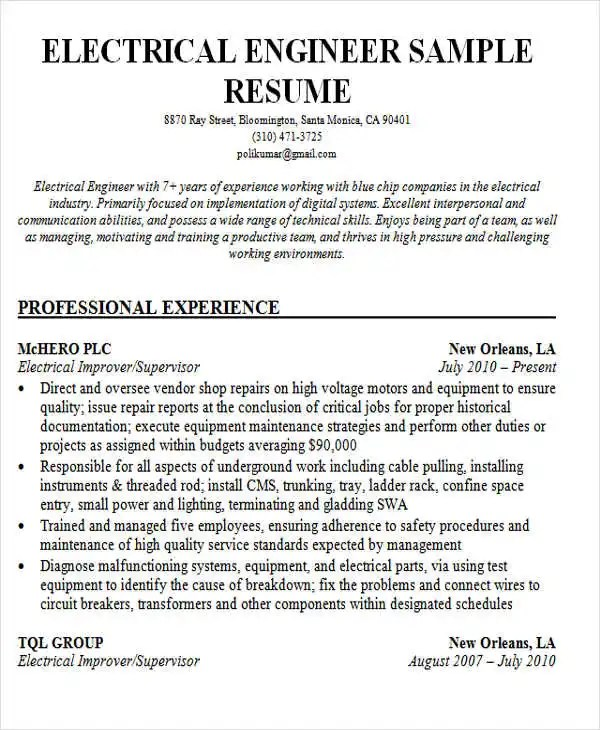 Resume Of Electrical Engineer Fresher - Fresher Electrical Engineer Jobs