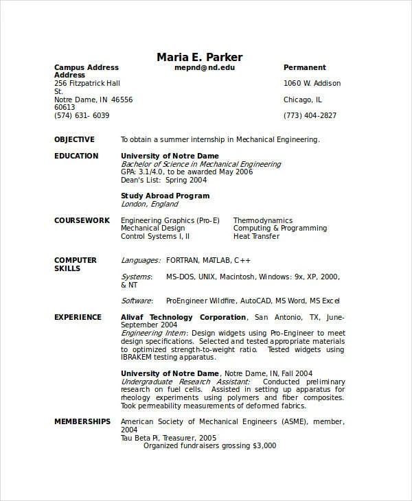 resume templates for hr internship