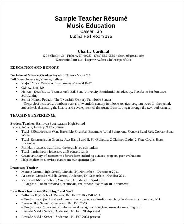 Free Teacher Resume - 40+ Free Word, PDF Documents Download Free - resume music
