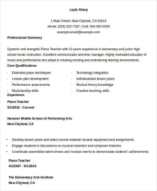 english cv example teacher onestopenglish number one for english