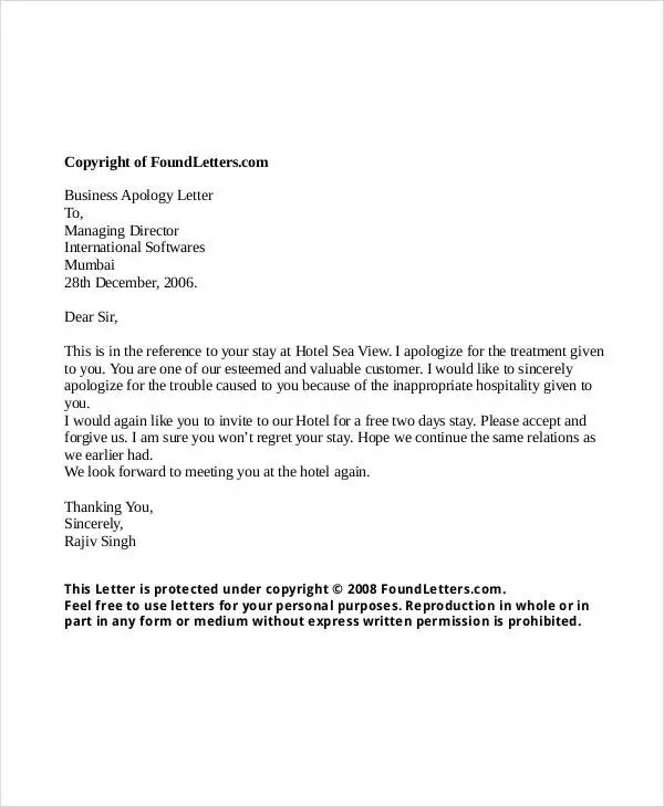 26+ Apology Letter Templates - PDF, DOC Free  Premium Templates