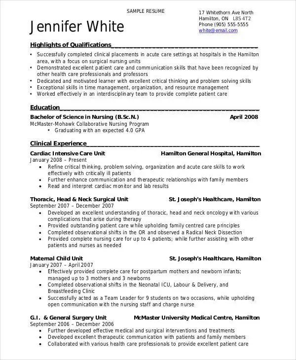 sample nursing skills for resume