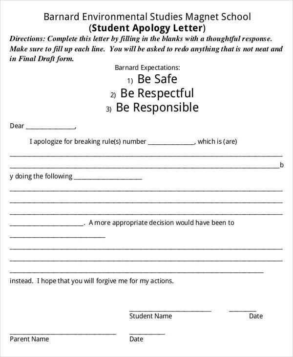 22+ Apology Letter Templates - PDF, DOC Free  Premium Templates - apology letter to school