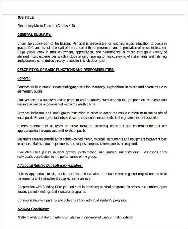 teacher responsibilities for resumes