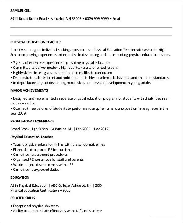 Physical Education Resume Examples - Examples of Resumes - physical education resume
