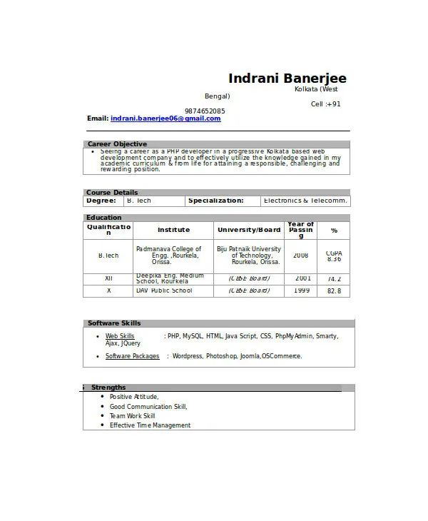 mechanical fresher resume sample