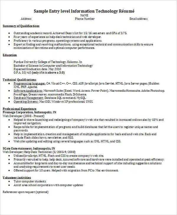 30+ Fresher Resume Templates - PDF, DOC Free  Premium Templates - Entry Level Help Desk Resume