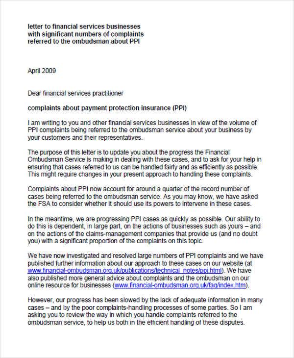 Complaint Letters in PDF Free  Premium Templates - financial ombudsman complaint form