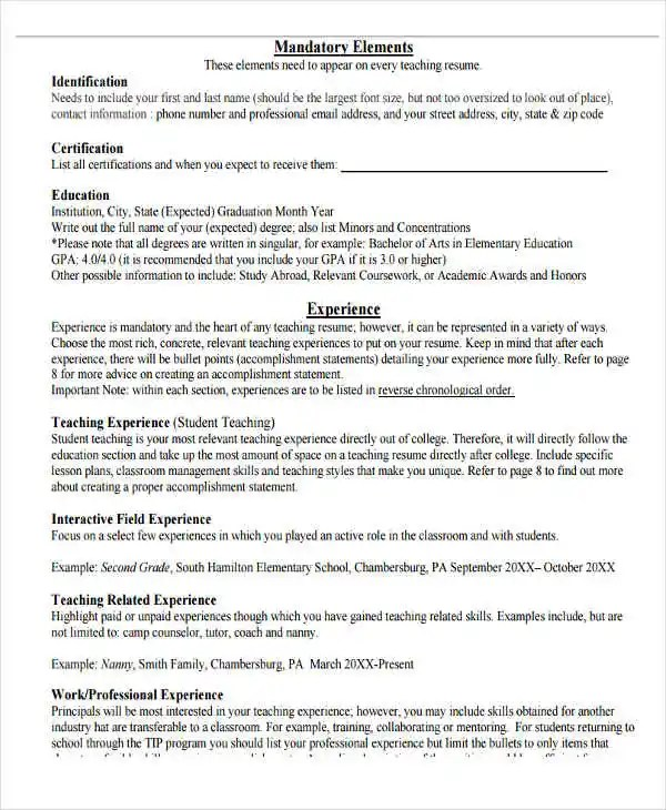20+ Teacher Resume Templates - PDF, DOC Free  Premium Templates