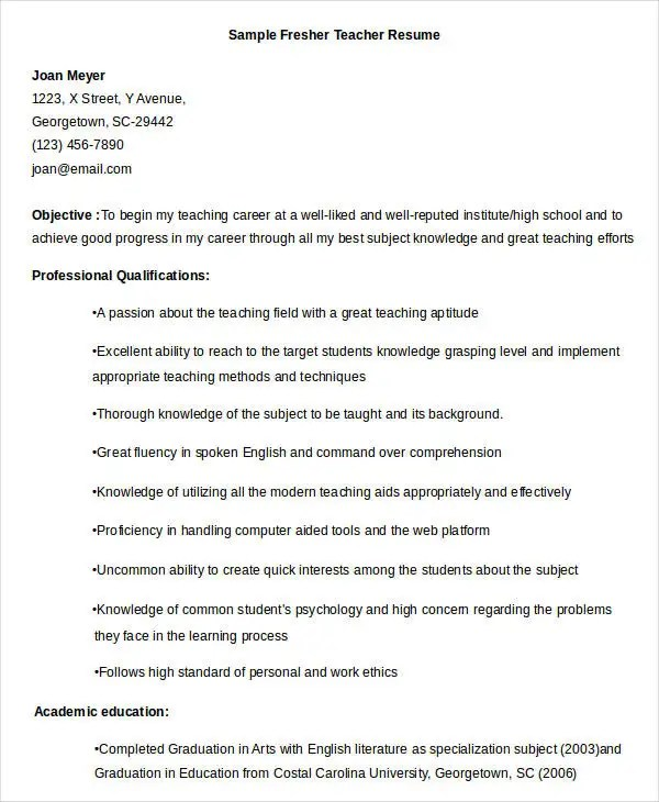 Teacher Resume Sample - 32+ Free Word, PDF Documents Download Free - great teacher resume examples