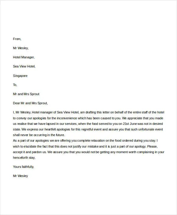 sample apology letter to hotel guest - Maggilocustdesign - format of apology letter