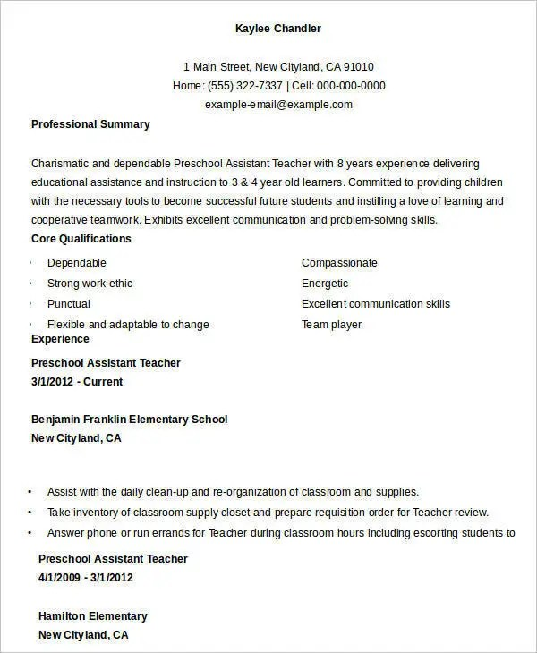 Teacher Resume Sample - 32+ Free Word, PDF Documents Download Free - preschool assistant sample resume