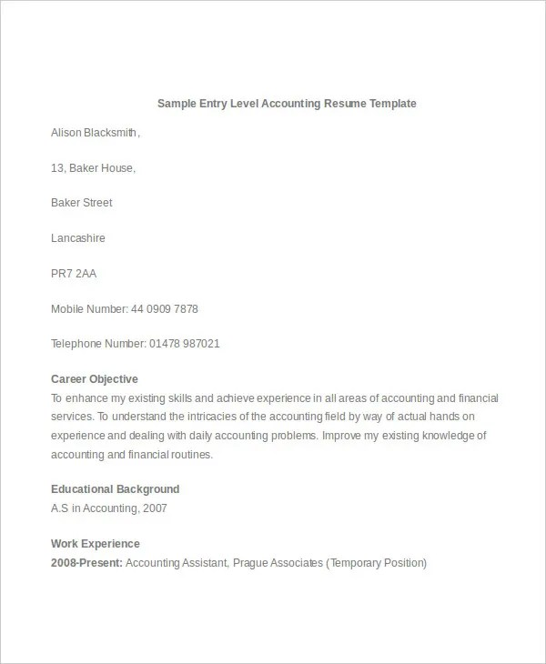 31+ Accountant Resume Designs Free \ Premium Templates - entry level accounting resume objective