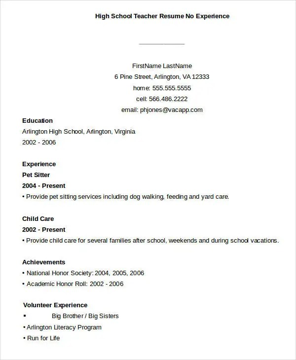 Teacher Resume Sample - 32+ Free Word, PDF Documents Download Free - resumes with no experience