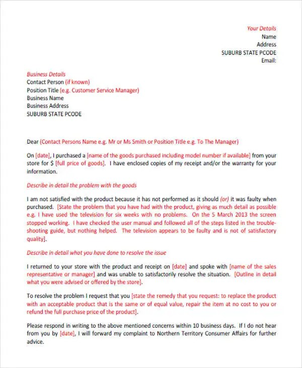 Complaint Letters in PDF Free  Premium Templates