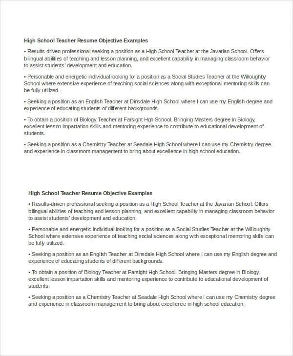 29+ Basic Teacher Resume Templates - PDF, DOC Free  Premium Templates